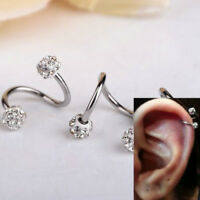 New Stainless Steel Crystal Twist Ear Helix Cartilage Body Piercing Earring Stud