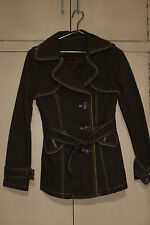 Ladies TRENCH TYPE Jacket w/ Lining, Brown w Purple Buttons Sz BEAUTIFUL!