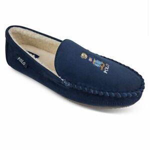 Polo Ralph Lauren DEZI Polo Bear Slippers Mens Size 9, 10, 11, 12  Navy Blue