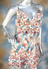 FRENCH CONNECTION peacock wood beaded blouse top tank shirt SZ: XS