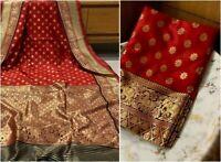 Designer Red Silk Blend Jacquard weaving Saree Sari Blouse Ethnic Women's Wear