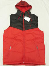 $52 NWT NEW Mens Rocawear Hooded Puffer Vest Jacket Red Black Urban Size L N284