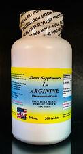 L-arginine 500mg, enhance fat metabolism, energy aid. Made in USA ~ 300 tablets