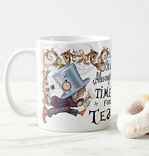 Mad Hatter, It's always time for tea, Alice in wonderland gift mug, Contemporary