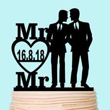Groom and Groom Silhouette Wedding Cake Topper Gay Wedding Male Couple Custom