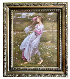 """John Waterhouse 'Windflowers' Hand Painted Oil on Canvas Framed Repro 28"""" x 32"""""""