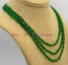 """Fashion jewelry 3 rows 4mm green Emerald bead necklace 17-19 """""""