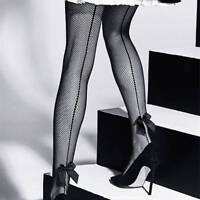 Women Tights Sexy One Line Tattoo Design Bow Fishnet Stockings Pantyhose Hosiery