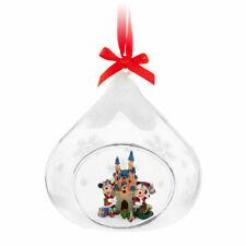 Disney Parks Mickey & Minnie Mouse Drop Glass Globe Ornament Disneyland Castle