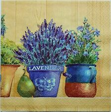 LAVENDER GARDEN HERBS 2 single LUNCH SIZE paper napkins for decoupage 3-ply