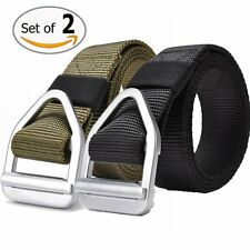 Fairwin Mens Military Style Nylon Webbing Riggers Tactical Web Belt with Buckle