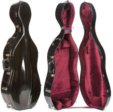 Bobelock 2000W Black Fiberglass 4/4 Cello Case - Wheels