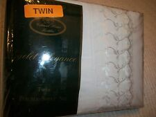 3 PIECE TWIN  SHEET SET WHITE EYELET PERCALE 180 BY COLONIAL HOME NEW IN PACKAGE