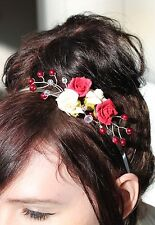 Handmade Bride Bridesmaid Prom - Ivory   Red Flower Crystal Side Tiara  Headband 2758358b602