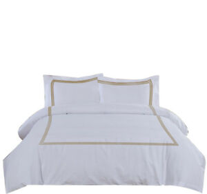 Egyptian Cotton 3PCs Duvet Set with 3 Lines Embroidery 800 TC Solid Color SOC2
