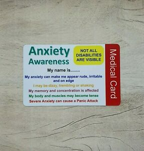 Anxiety Awareness Medical Card Personalised ID contact details disability
