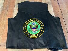 XL Vest Motorcycle United States Army Mens Vest Leather Jacket #1628 V2218