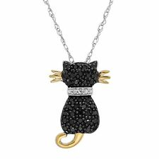 1/5 ct Black & White Diamond Two-Tone Cat Pendant in 14K Gold & Sterling Silver