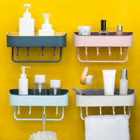 Home Wall Mounted Kitchen Bathroom Storage Rack Shelf Hook Hanger DrainingHolder