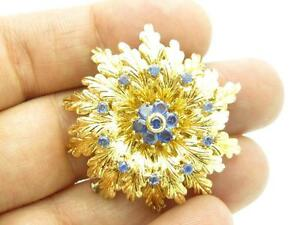 18K Yellow Gold Blue Sapphire Hand Made One of a Kind Flower Brooch Pin Gift