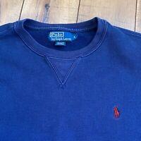 Polo Ralph Lauren Men's Small Blue Fleece Lined Pull Over Crew Neck Sweatshirt