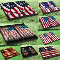 American Flag Cornhole Board Game Decal Wraps Vinyl Sticker Statue of Liberty MO