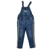 Osh kosh Bigosh Toddler Girl Jean Denim Bib Overalls Pants Sz 3T Gold Stripe