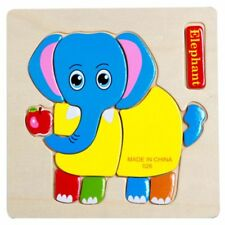 Elephant Cartoon Wooden Puzzle Jigsaw Early Learning Baby Kids Training Toy