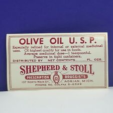Drug store pharmacy ephemera label advertising Shepherd stoll olive oil Adrian