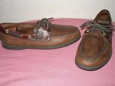 mens size 10.5m SPERRY TOP-SIDER ORIGINAL BROWN LEATHER 2-EYE BOAT/DECK SHOES