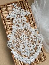 Ivory Embroidery Trim Lace Costume Craft Motif Evening Dress DIY Applique 1 PC