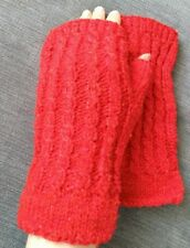 Wool blend wrist warmers fingerless gloves handknitted handmade New Red Gift
