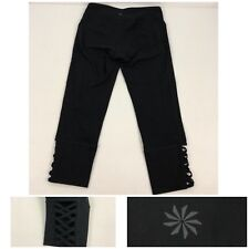 Athleta XS Capri Yoga Black Supplex Nylon Lycra Unique Design Rare EUC