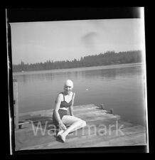 1940s Photo Negative Lady in bathing suit and cap at Lake  Swimmer