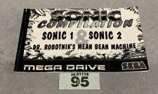 Sega Mega Drive Sonic Compilation Sonic 1 & 2 Instruction Booklet