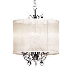 NEW VANESSA MINI CRYSTAL CHANDELIER 14'' DRUM SILK SHADE PENDANT LAMP
