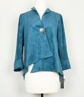IC by Connie K S Jacket Teal Blue Faux Suede One Button Lagenlook Misses new