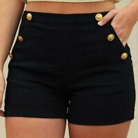 Women Casual Plus Size Zipper Elastic Band Hot Pants Summer Shorts Trouser