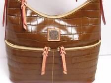 New Dooney & Bourke Cognac Croco Embossed Leather North/South Zipper Hobo~ $298