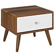 MID CENTURY MODERN WALNUT & WHITE NIGHTSTAND END TABLE WITH DRAWER