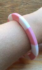 Pink & White Stripe Bangle/Bracelet/Statement/Retro/Rockabilly/Kitsch/Candy