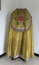 Chape pluvial en drap d'or chaperon I.H.S - Epoque XIXe