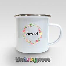 Damigella Matrimonio SMALTATA Tazza tè caffè regalo floreale SPOSE damigella