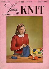 Coats Clark 234 Learn Knit Beginner Patterns Easy Scarf Mittens Socks Hood 1948