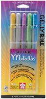 Sakura Gelly Roll Metallic 5 Color Hot Set Archival Quality Gel Ink 0.4mm Pen