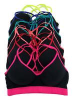 Lot 1 3 6 Light Padding Multi Straps Wire Free Cotton Sports BRA 32B 34B 36B 38B