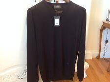 Men's black 100% fine and tightly woven Berluti Vneck sweater NWT size 54E US L