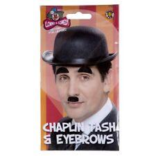 Men's Charlie Chaplin Bowler Hat Tash & Eyebrows Silent Movie Fancy Dress Stag