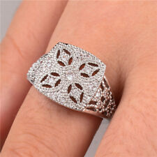 Fashion 925 Silver Women's Wedding Rings Round Cut White Sapphire Size6