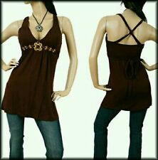 Brown Sleeveless Cross Back Embroidered Jewel Top, Blouse, Large